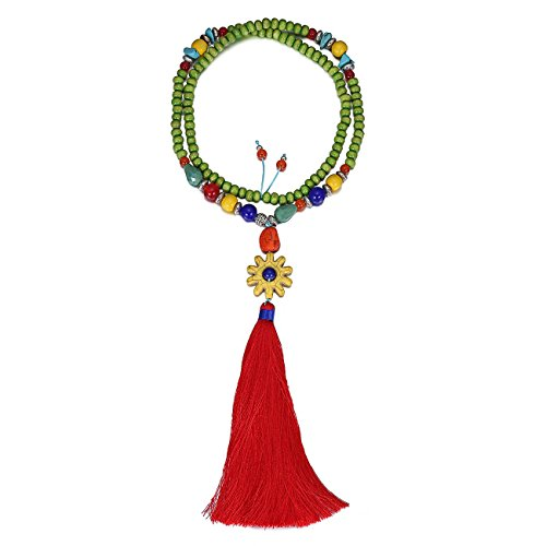 eManco Statement Tassel Long Pendant Necklaces for Women Handmade Wood Bead Bohemian Jewelry Red