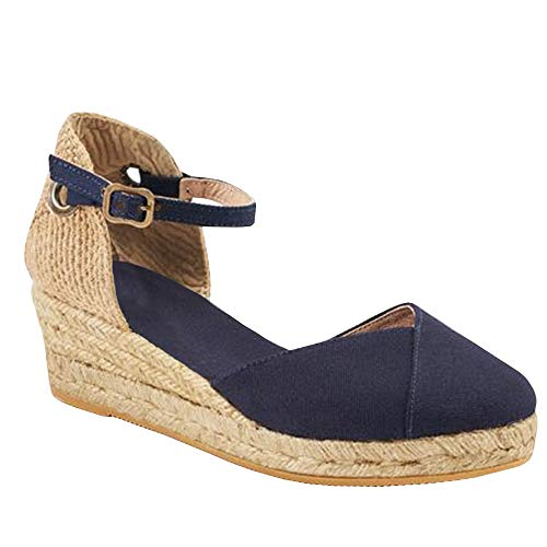 Nailyhome Womens Ankle Straps Espadrille Platform Sandals Closed Toe with Slingback Wedge Sandals