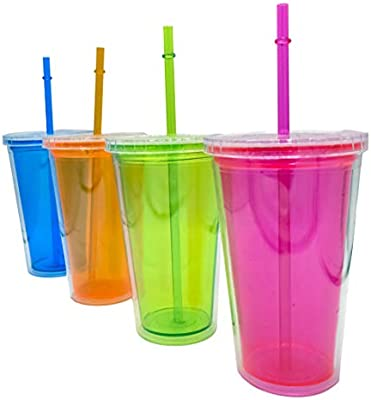 Compra ML Pack de 4 pcs de Vasos de plástico Reutilizables con ...