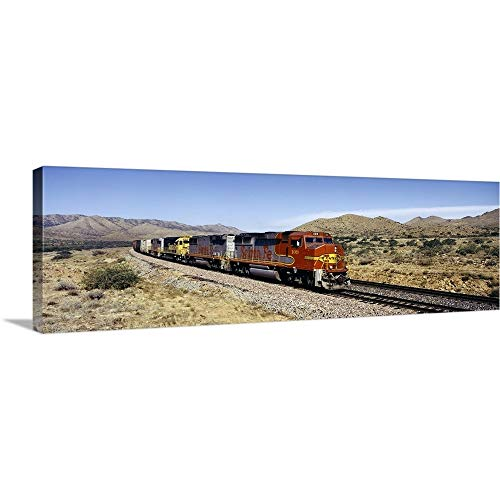 Solid-Faced Canvas Print Wall Art Print Entitled Train on a Railroad Track, Santa Fe Railroad, Arizona 36