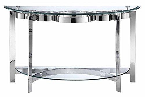 Stein World Furniture Mercury Demilune Sofa Table, Silver - Glass Table Demilune Console