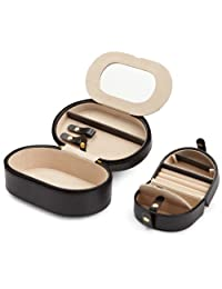 Wolf Designs 280602 Heritage Black Oval Zip Travel Case Jewelry-Box