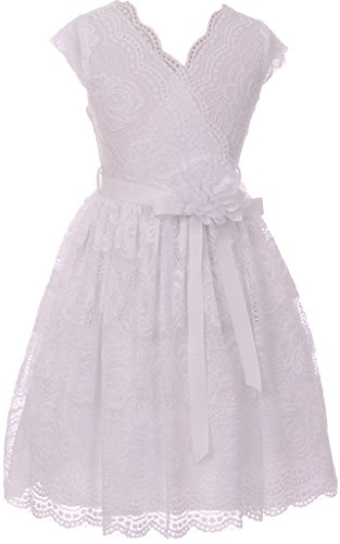 BNY Corner Flower Girl Dress Curly V-Neck White Embroidery Allover for Big Girl White 16 JKS.2066 -