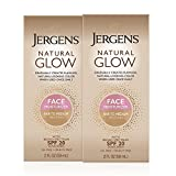 Jergens Natural Glow SPF 20 Face Moisturizer, Self Tanner, Fair to Medium Skin Tone, Sunless Tanning, Daily Facial Sunscreen, 2 oz, Pack of 2, Oil Free, Broad Spectrum Protection (Packaging May Vary)