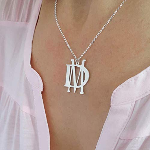 2 Initials Block Monogram Necklace, Sterling Silver, Personalized Jewelry Gifts, Christmas gift ()