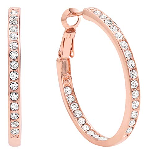 - Bellina Bridal Wedding Austrian Crystal Rhinestone High Shine Inside-Out Hoop Earrings Rose-Gold Plated 1 3/8 Inch (SRG)