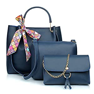 Mammon Women's Handbag With Sling Bag & Pouch (Set of 3, Blue)