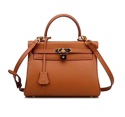 Ainifeel Women's Padlock Shoulder Handbags Hobo Bag (28cm, Brown) by Ainifeel (Image #1)