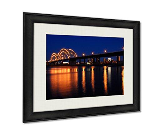 Ashley Framed Prints Memphis Bridge Over Mississippi River Artwork Decoration Photo Print Wood Frame with Matte, kitchen living room bedroom 20x25 art