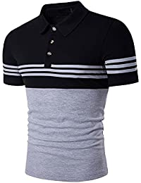 Men's Fashion Stripe Contrast Color Short Sleeve Polo T Shirt