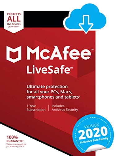 McAfee LiveSafe 2020   Unlimited Devices   1 Year   PC/Mac/Android/Smartphones   Download Code