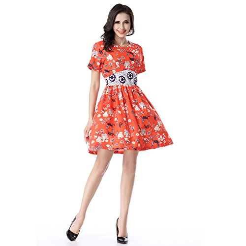 Glorria Women Print Patchwork Short Sleeve Tunic Waist Large Hem Dress Summer Casual Fashion Fit and Flare Draped Dresses