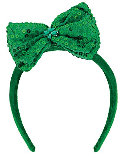 St Patrick Costume (St. Patrick's Day Sequined Fabric Bow Headband St. Patrick's Day Costume Party Head Wear Accessory (1 Piece), Green, 7