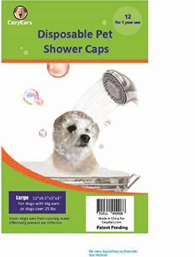 Disposable Pet Shower Caps, Ear Infection Prevention, Ears Drops Guard, Surgical Area Cover, Overhanging Ears Protection for Dogs, Cats, Bath, Rain, Water, 12 Caps/Pack ()