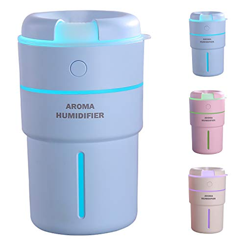 320ml Cup Mini Aroma Essential Oil and Tablets Diffuser Cool and Adjustable Mist Humidifier with waterless auto shut-off and 7 Color Lights for Office Home Bedroom Yoga Spa by ELFMIC (Blue)