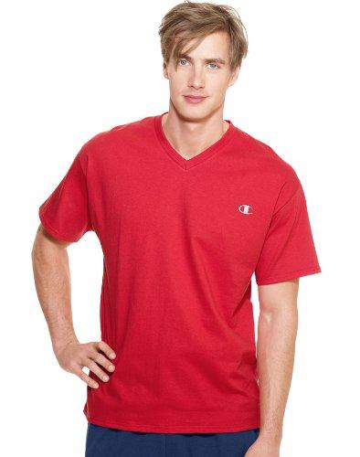 Champion Men's Jersey V-neck T-Shirt, Crimson, X-Large
