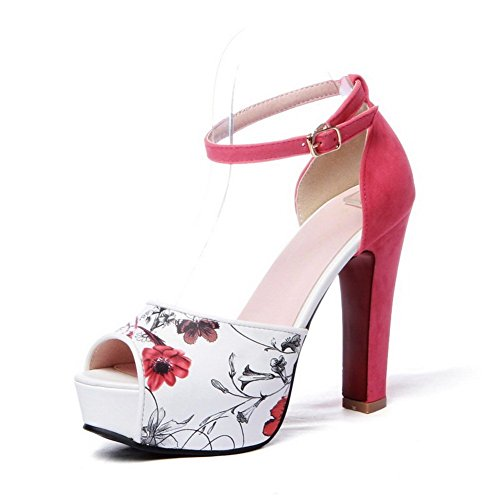 Balamasa Kvinna Blommig Djur Print Imiterade Läder Sandaler Rosa