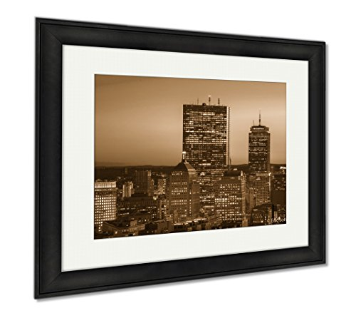 Ashley Framed Prints Downtown Boston, Wall Art Home Decoration, Sepia, 26x30 (frame size), Black Frame, - Ma Prudential