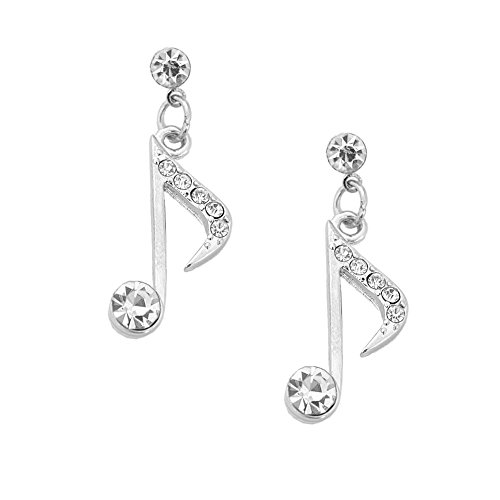 Musical Note Earrings - Spinningdaisy Silver Plated Eighth Note Music Note Earrings