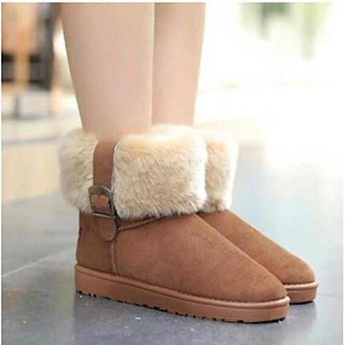 Shoes Fall Casual Blue Winter Camel PU Boots Women's Black Round Flat ZHZNVX Comfort Blue Ankle Boots Toe HSXZ Booties for EqCXwTZ
