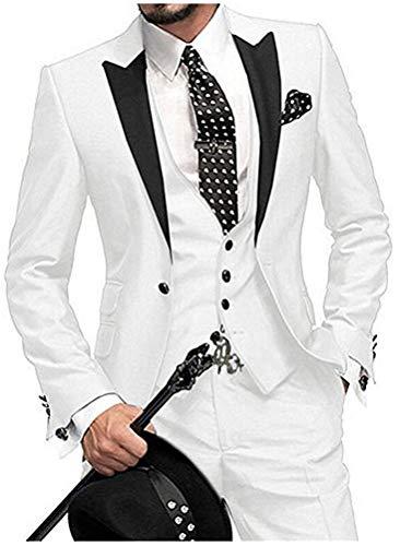 One Button 3 Pieces White Wedding Suits Notch Lapel Men Suits Groom Tuxedos White 46 chest / 40 waist (Groom Best Man Suits)