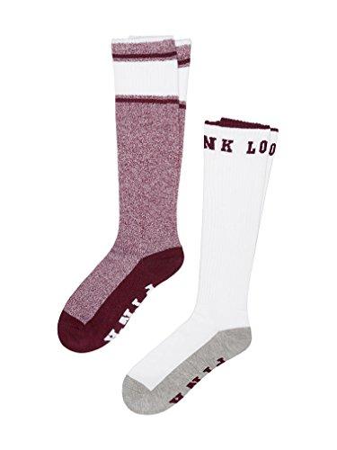 Victoria's Secret PINK Knee High Socks Ruby Marl & White Love Pink- 2 Pairs (Victorias Secret Love Pink Socks)