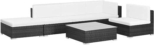 SOULONG Conjuntos de Muebles de jardín,sofás de ratán sintético Compuesto por 1 sofá de Esquina, 3 sofás centrales, 1 Mesa de Centro, 1 otomana, 5 Cojines de Respaldo y 5 Cojines de Asiento: Amazon.es: Hogar
