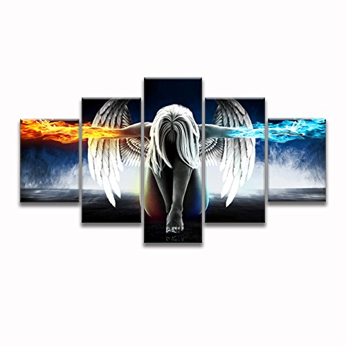 Angel with Wings Painting Anime Abstract Painting for Living Room Wall Art Picture Gift Home Decoration 5 Pieces Canvas Print HD Printed Framed Ready to (Angel Canvas Art)
