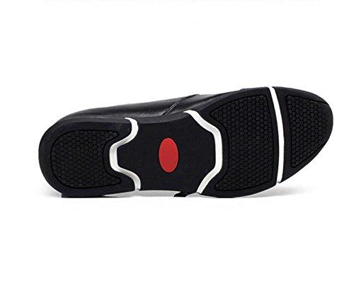 GRRONG Chaussures En Cuir Pour Hommes Loisirs En Cuir Véritable Noir Brun Black T1SdlmmnV