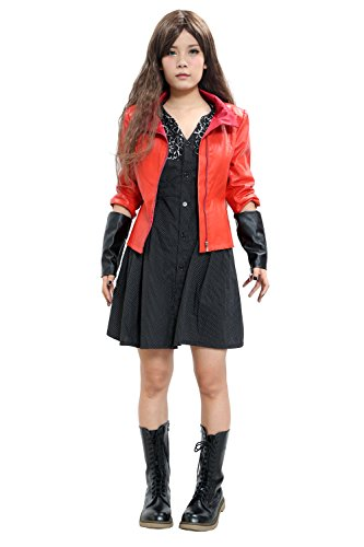 [Halloween Women's Red Witch Cosplay Jacket & Dress Suit Custom Made] (The Avengers 2 Scarlet Witch Costume)