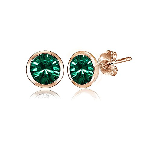 Rose Gold Flashed Sterling Silver 5mm Bezel-set Martini Green Stud Earrings created with Swarovski Crystals