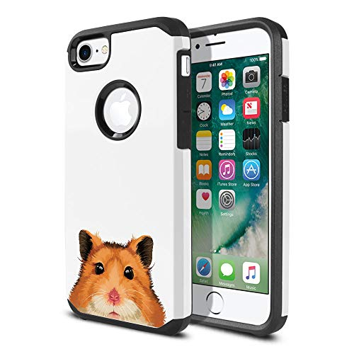 (FINCIBO Case Compatible with Apple iPhone 7 2016 / iPhone 8 2017 4.7 inch, Dual Layer Hard Back Hybrid Protector Case Cover Anti Shock TPU for iPhone 7/8 (NOT FIT 7 Plus, 8 Plus) - Brown Hamster)