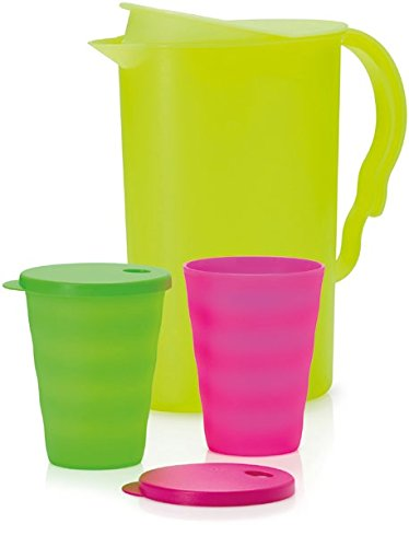 Tupperware Impressions 2 Qt Refrigerator Pitcher New Lime green with two cups -  Tuperware