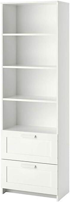 Librería blanca 60x190cm con cajones y estantes ajustables ...