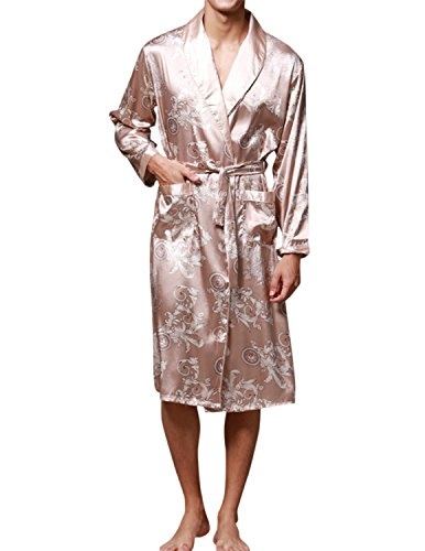 Dragon Design Kimonos - Haseil Men's Satin Robe Dragon Chinese Silk Spa Long Sleeve House Kimono Bathrobe, Camel, TagsizeXL=USsizeM