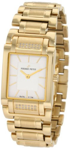 Pierre Petit Women's P-794G Serie Laval Yellow-Gold PVD Square Case Diamond Bracelet Watch