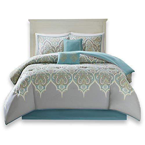 Comfort Spaces Mona 100% Cotton Printed Paisley Design 6 Piece Comforter Set Bedding, Queen, Teal & Grey (Queen Cotton Comforters)