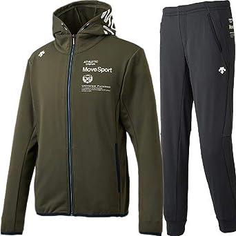 e8fd93279aab Amazon | [デサント] メンズ ヒートナビ アクティブスーツ フーデッドジャケット + ロングパンツ 上下セット カーキ/ブラック XO |  上下セット 通販