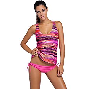 Traje De Baño De Las Mujeres Bikini Conservador Moda Impreso Traje De Baño De Tres Piezas Split Pink,XXL