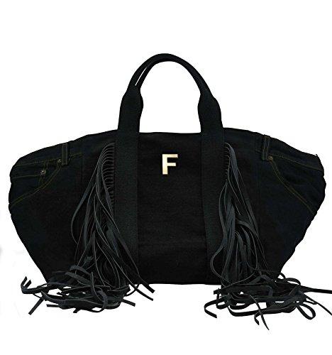 Borsa Shopper in jeans nero personalizzata con iniziali in metallo - nero, F