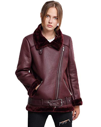 (LY VAREY LIN Fitaylor Women's Faux Shearing Moto Jacket Thick Lined Parka Winter Shearling Coat Leather Jacket (M, Wine Red))