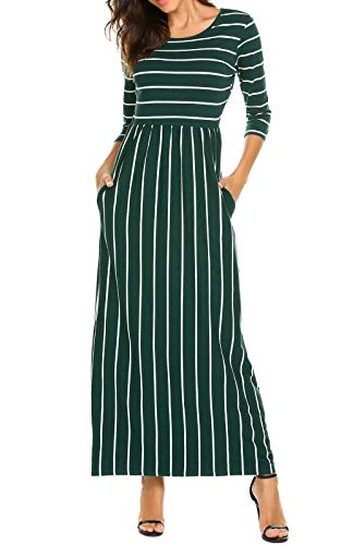 Pocket Plain Sleeve Side Dress 3 Casual with Fall POGTMM Striped Green Dress 4 A Long Womens Line Maxi fBaxFzqw