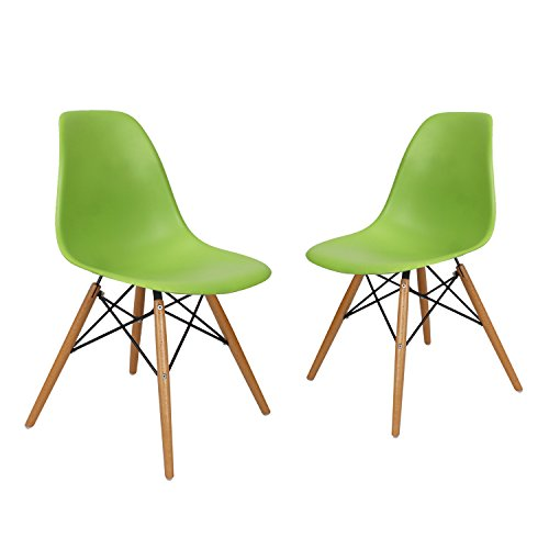 Charles & Ray Eames Modern Side Chair with Wooden Legs, Reception Seat (Set of Two)