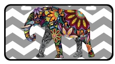 Color elephant personalized metal license plate