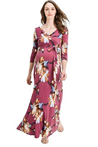 Hello MIZ Women's Faux Wrap Maxi Maternity Dress with Belt -