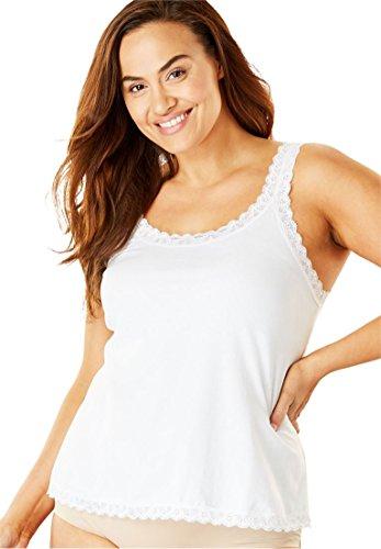 Comfort Choice Women's Plus Size Lace-Trimmed Stretch Cotton Camisole - White, 14/16