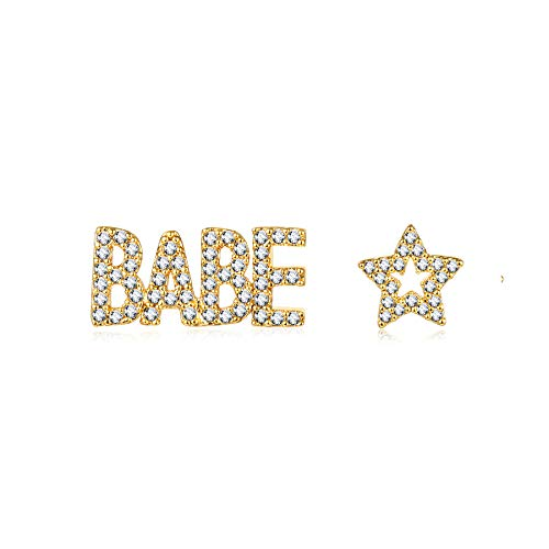 Gold Word BABE Stud Earrings,Star Ear Studs,Dainty Sparkly Cubic Zirconia Paved Personalized English Text Earrings with Words for Women and Girls
