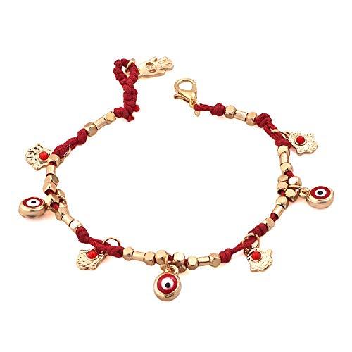 CLY Jewelry Nazar Boncuğu Red Evil Eye with Hamsa Hands Beaded Gold Chain Protective Sign Brings Happiness Health Fortune Luck Gift for Women ()