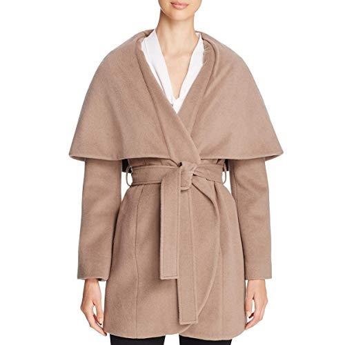 (T Tahari Womens Marla Winter Wool Blend Wrap Coat Taupe)