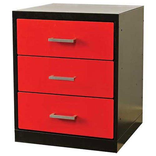 Fort Knox Workbench Pedestal-3 Drawer, 18''x24''x 32'', Black Body, Red Doors, 1-Wide